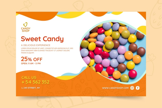 Candy banner template with photo