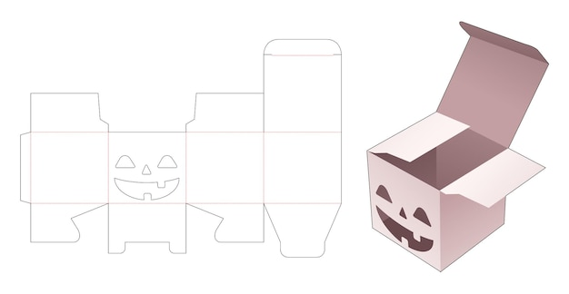 ステンシルハロウィーンパターンダイカットテンプレートとキャンディーボックス