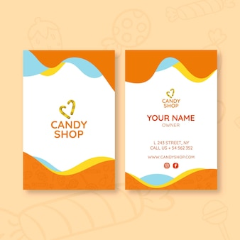 Candy business card template with photo