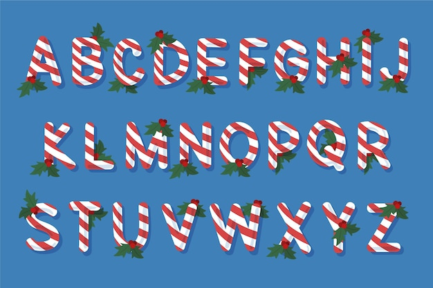 Candy cane alphabetical letters