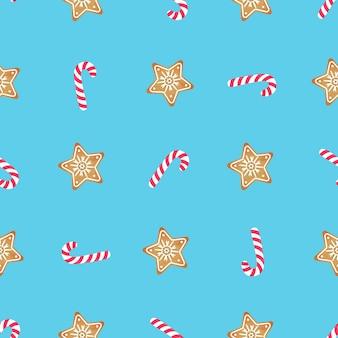 キャンディケインとジンジャーブレッドのスター。クリスマスと新年のシームレスなパターン。