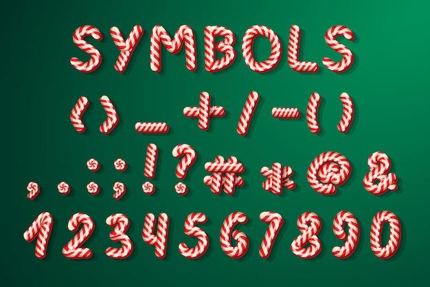 Конфеты рождество алфавит конфеты символы для праздника Premium векторы