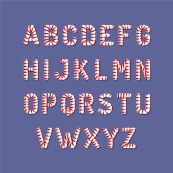 Candy cane christmas alphabet illustration