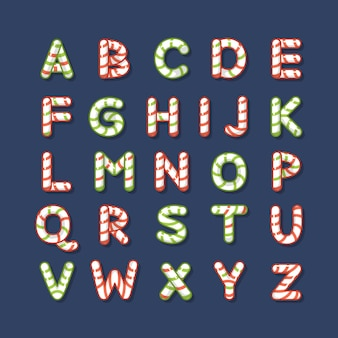 Candy cane christmas alphabet letters