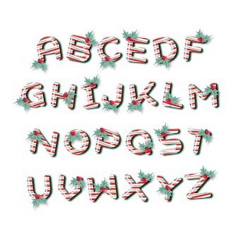 Candy cane christmas alphabet set