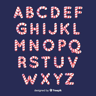 Candy cane christmas alphabet