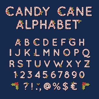 Candy cane christmas alphabet