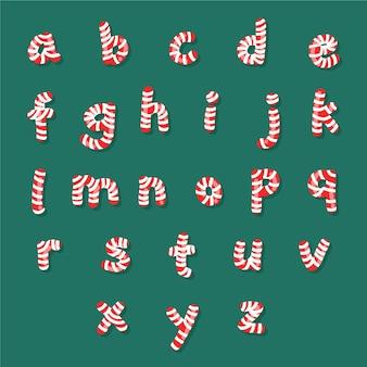 キャンディケインのクリスマスのアルファベット