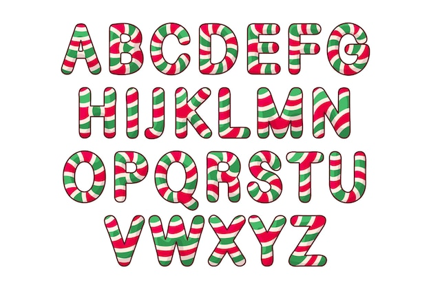 Candy cane christmas alphabetical letters