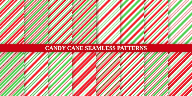 Candy cane, christmas pattern set