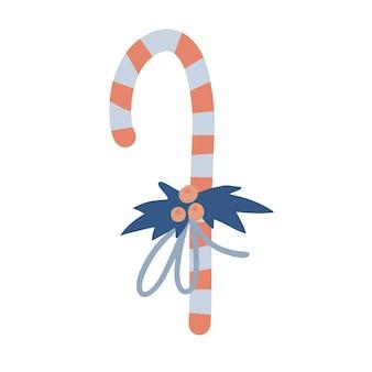 クリスマスや新年のキャンディケインは、ヒイラギと弓のベクトルフラット手描きillustraで飾られています...