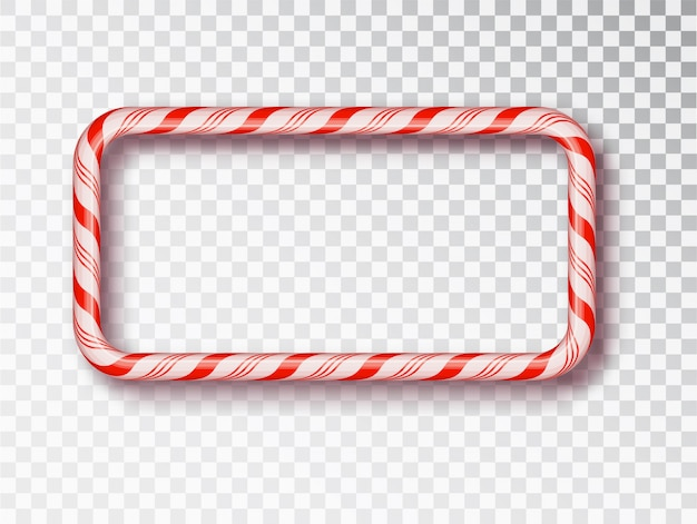 Candy cane frames  isolated. red and white twisted cord frame.