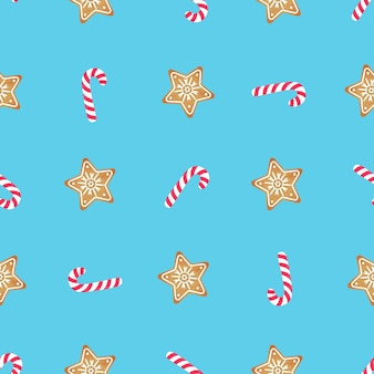 Candy cane and gingerbread star. seamless pattern for christmas and new year.