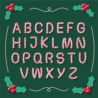 Candy cane illustration christmas alphabet
