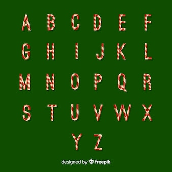 Candy cane letters christmas alphabet