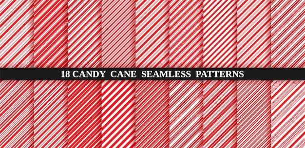 キャンディー杖赤ストライプシームレスパターン。クリスマスキャンデー杖の背景。ペパーミントのキャラメル斜めプリント。