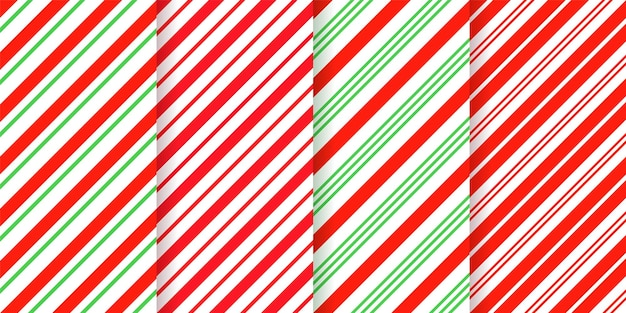 キャンディケインのストライプ柄。シームレスなクリスマスの背景。赤緑ペパーミントの対角線。