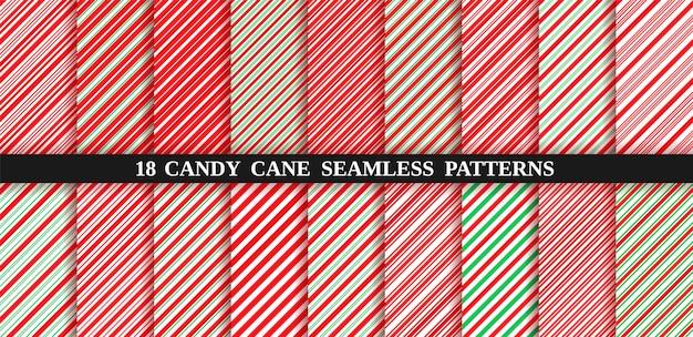 キャンディー杖ストライプシームレスパターン。クリスマスのキャンディケインの背景