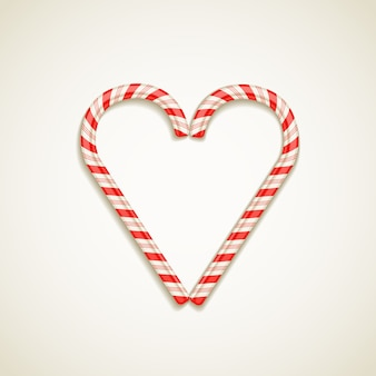 Candy canes shape of heart vector illustration love concept
