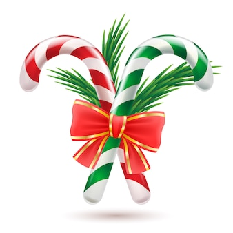 Candy canes with christmas tree branches and bow.