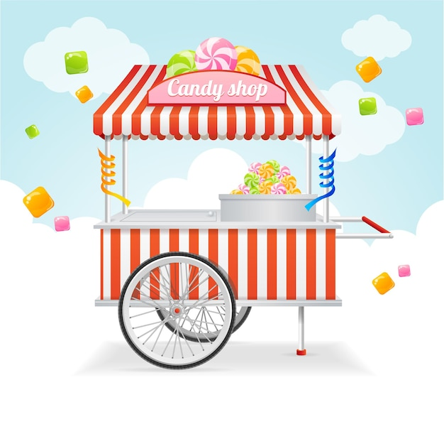 Candy cart market card. sale of sweets and candies on the street.