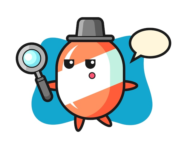 Candy cartoon character searching with a magnifying glass