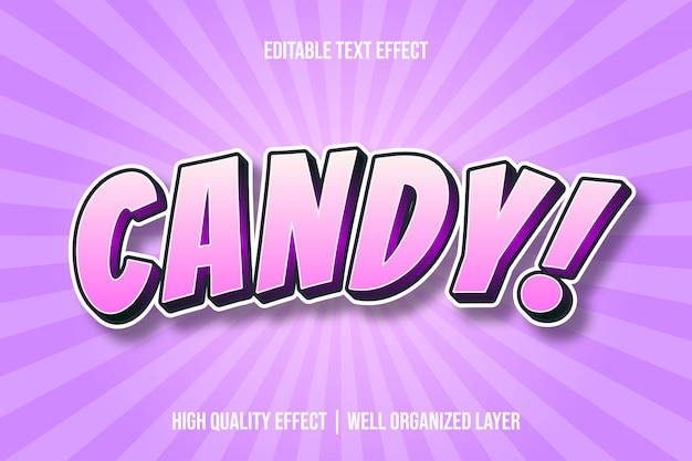 Candy! cartoon comic style text effect