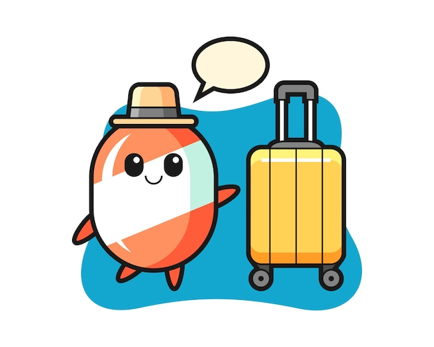 Candy cartoon illustration with luggage on vacation