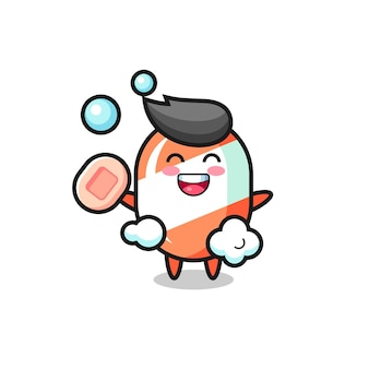 Candy character is bathing while holding soap , cute style design for t shirt, sticker, logo element