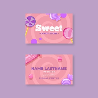 Двухсторонний горизонтальный шаблон визитной карточки candy