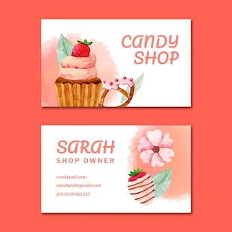 Candy double-sided horizontal business card template