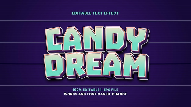 Candy dream editable text effect in modern 3d style