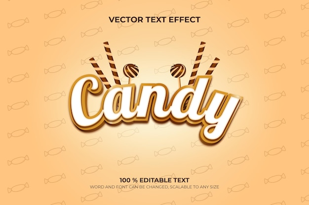 Candy editable 3d text effect with brown pattern backround style