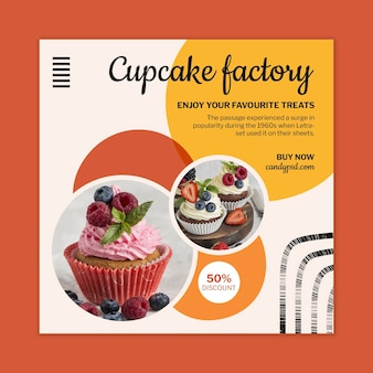 Candy factory squared flyer template