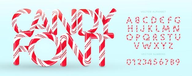 Конфеты шрифт. векторный алфавит и числа. сладкие конфеты, латинские буквы леденца на палочке. белые буквы с красными полосами. цирк и клоун вензель и шаблон плаката. дизайн типографики