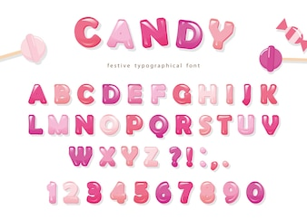 Candy glossy font design.