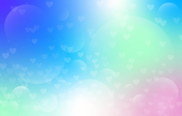 Candy gradient with heart and bubble bokeh background