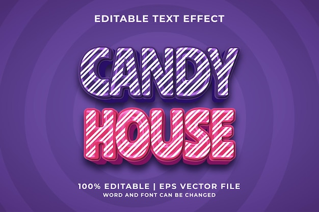 Candy house 3d editable text effect premium vector
