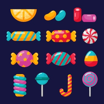 Candy icons set with different types isolated on blue