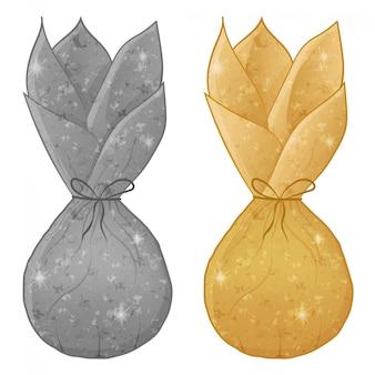 Конфеты в блестящей обертке, серебро и золото цвета на белом фоне. сладкий символ мультфильм иллюстрация