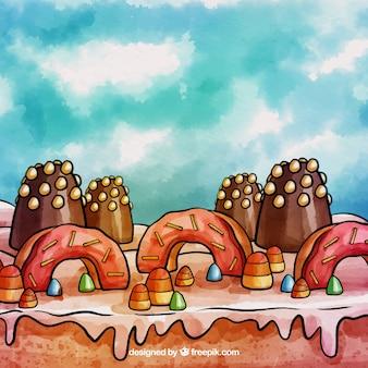水彩スタイルのキャンディーランドの背景