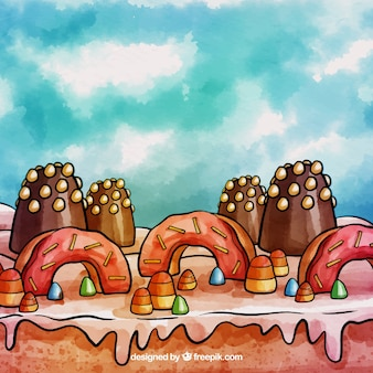 Candy land background in watercolor style