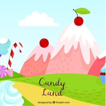 Candy land background with delicious mountains