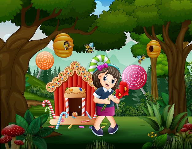 Candy land background with a girl holding flowers