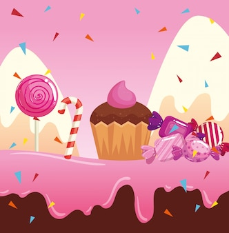Candy land with cupcake and caramels