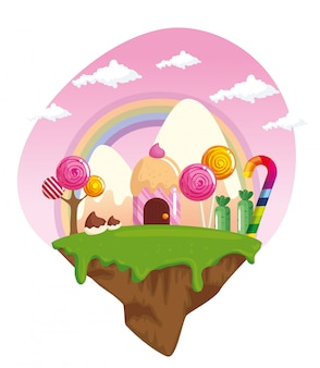 Candy land with houses cupcake and caramels