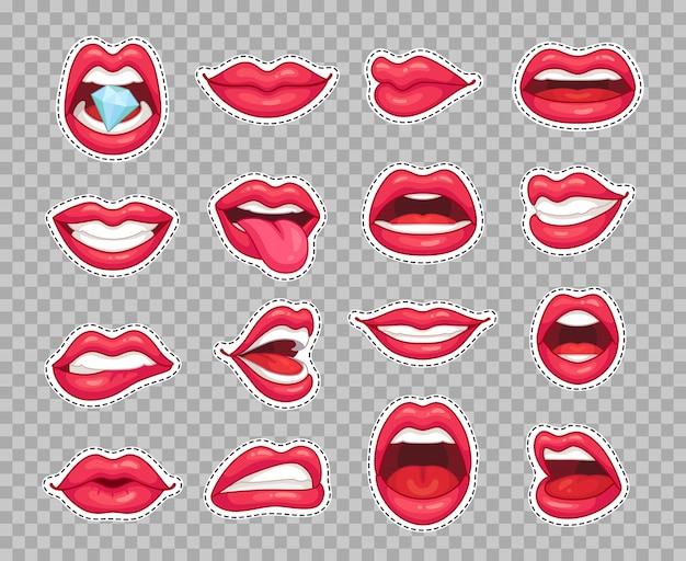 Candy lips patches. vintage fashion cartoon stickers with girl showing tongue smiling