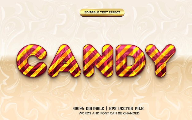 Candy marble kids 3d editable text effect