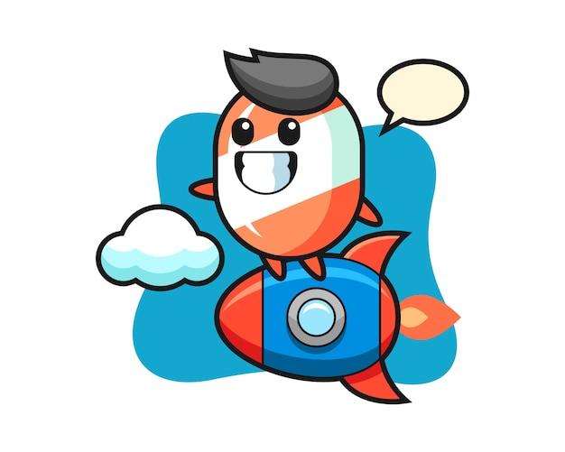 ロケットに乗るキャンディのマスコットキャラクター