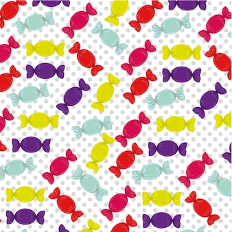 Candy pattern on a background of dots vector illustration